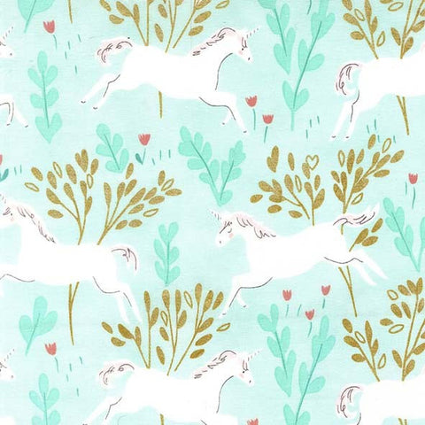 SALE Magic Unicorn Forest Aqua METALLIC by Sarah Jane for Michael Miller - Blue - Quilting Cotton Fabric - choose your cut