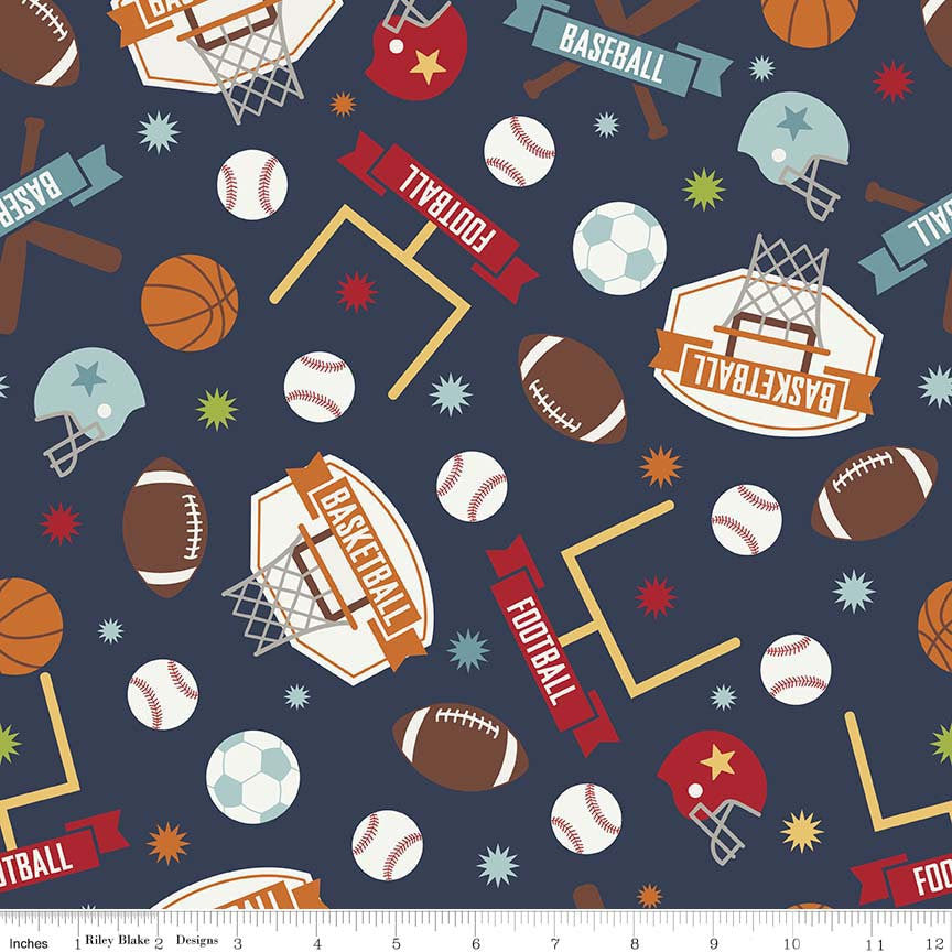 Game Day Sports Main Navy - Riley Blake Designs - Blue Basketball Football Soccer - Quilting Cotton Fabric - end of bolt pieces