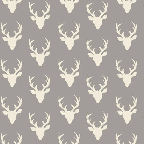 Hello Bear Tiny Buck Forest Mist - Art Gallery - Gray Small Deer Head -Jersey KNIT cotton lycra stretch fabric- choose your cut