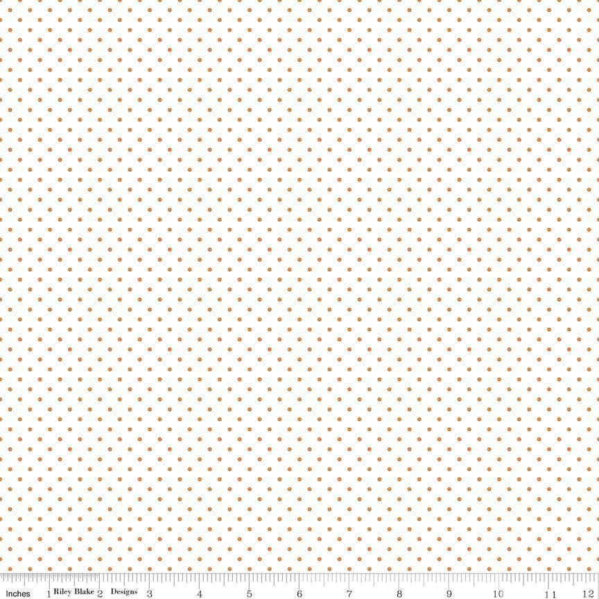 SALE Orange Swiss Dots on White by Riley Blake Designs - Polka Dot - Quilting Cotton Fabric - choose your cut