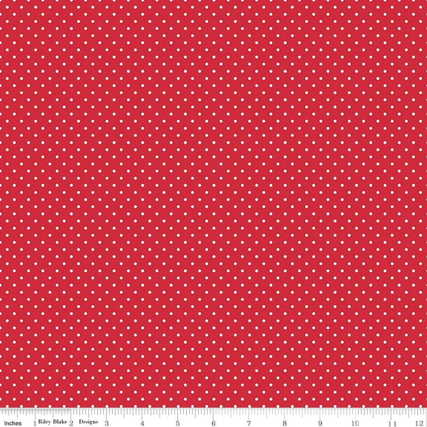 SALE White on Red Swiss Dots by Riley Blake Designs - Polka Dot - Quilting Cotton Fabric - choose your cut