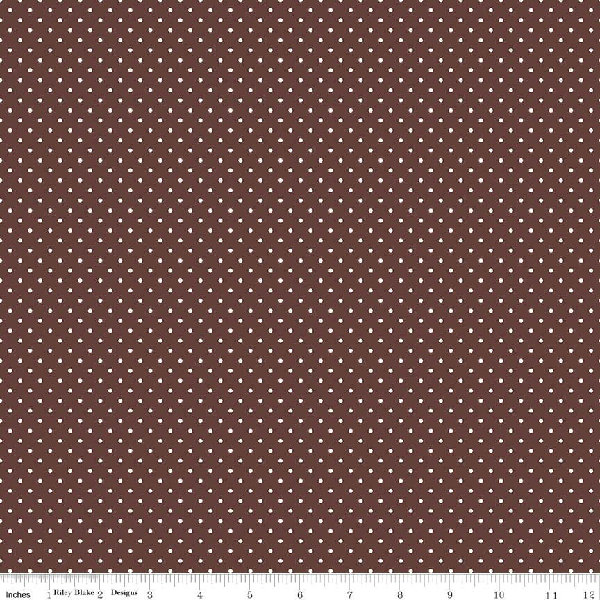 SALE White on Brown Swiss Dots by Riley Blake Designs - Polka Dot - Quilting Cotton Fabric