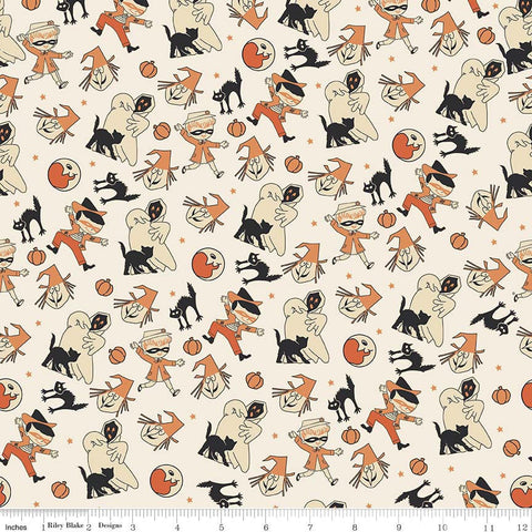 Trick or Treat Toss Cream - Penny Rose Fabrics - Halloween Ghost Witch Pumpkin Cat - Quilting Cotton Fabric - choose your cut