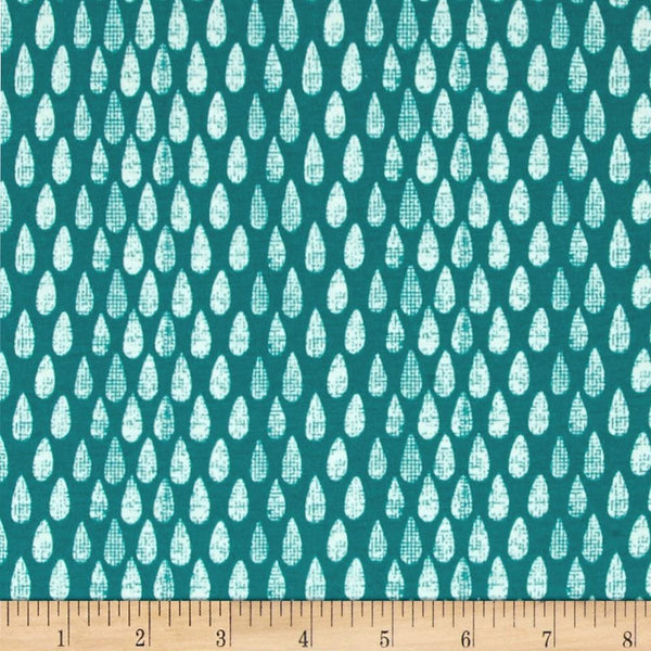 SALE Succulence Abundance Monsoon by Art Gallery - Teal Green Cream Drops - Jersey KNIT cotton stretch fabric - choose your cut