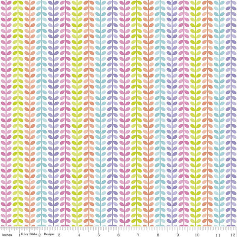 Under the Sea Vines White - Riley Blake Designs - Multi Pastel Nautical Water - Quilting Cotton Fabric- 1 yard 14 inch end of bolt piece