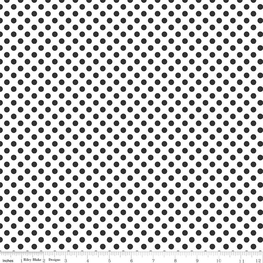 "Black Small Dots on White - Riley Blake Designs - 1/4"" Quarter Inch - Quilting Cotton Fabric - choose your cut"
