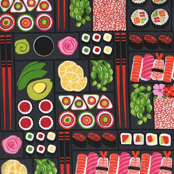 Bento Box Lacquer by Michael Miller - Sushi Rolls Japanese Asian Food Fish Black - Quilting Cotton Fabric - choose your cut