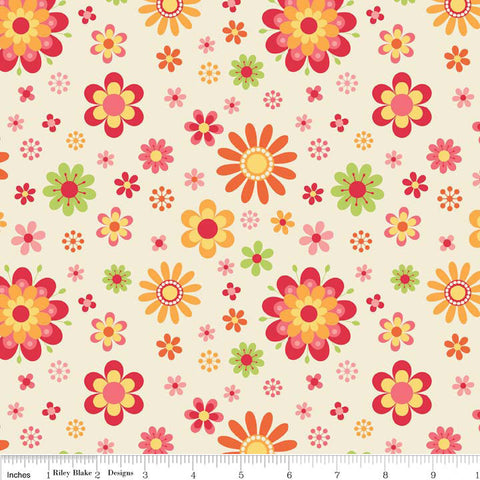 Just Dreamy 2 Floral Cream by Riley Blake Designs - Flowers - Jersey KNIT cotton lycra spandex stretch fabric