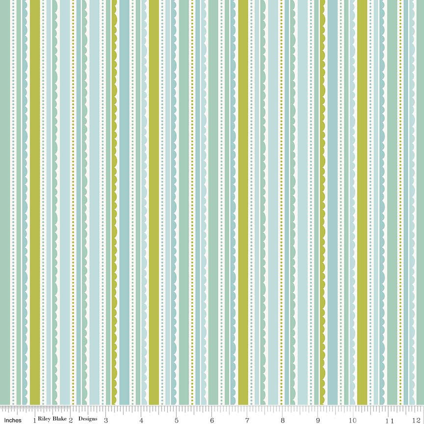 SALE Happy Day Stripes Aqua - Riley Blake Designs - Stripe Blue Green Lace Scallop - Quilting Cotton Fabric - choose your cut
