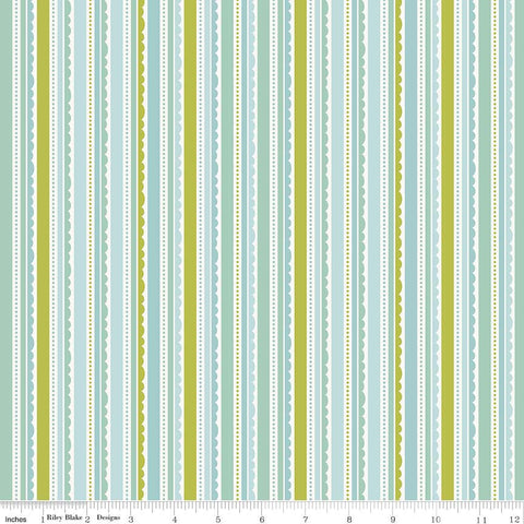 CLEARANCE Happy Day Stripes Aqua - Riley Blake Designs - Stripe Blue Green Lace Scallop - Quilting Cotton Fabric - by the yard