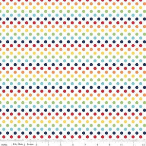 SALE Rainbow Small Dots - Riley Blake Designs - Polka Dots - Primary - Quilting Cotton Fabric - choose your cut