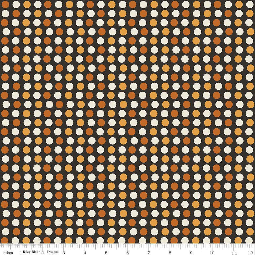 CLEARANCE Lost and Found Halloween Dots Orange - Riley Blake Designs - Polka Dots Black - Quilting Cotton Fabric - by the yard