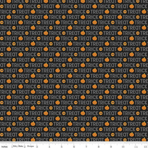 Ghouls and Goodies Trick or Treat Black by Riley Blake Designs - Halloween Pumpkins - Quilting Cotton Fabric