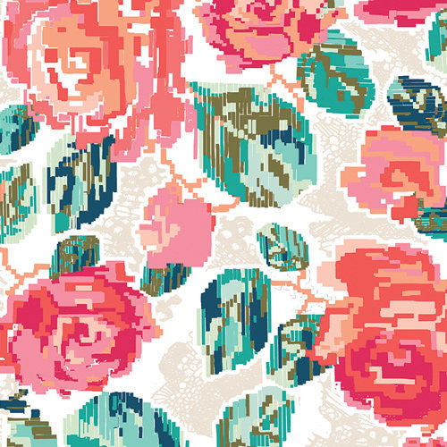 Recollection Flowered Engrams Delicate - Art Gallery - Floral Flowers-Jersey KNIT cotton lycra stretch fabric