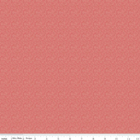 "SALE Coral Hashtag Small - Riley Blake Designs - White on Coral Pink - Quilting Cotton Fabric - 1 yard 23"" end of bolt piece"