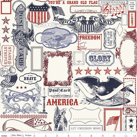 Lost and Found Americana Main Multi - Riley Blake Designs - Patriotic USA - Quilting Cotton Fabric