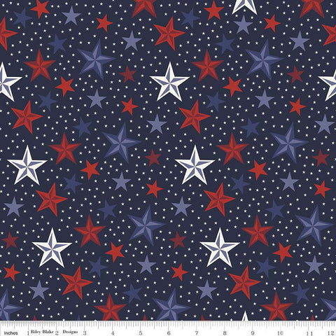 Lost and Found Americana Stars Navy - Riley Blake Designs - Blue Patriotic USA - Quilting Cotton Fabric