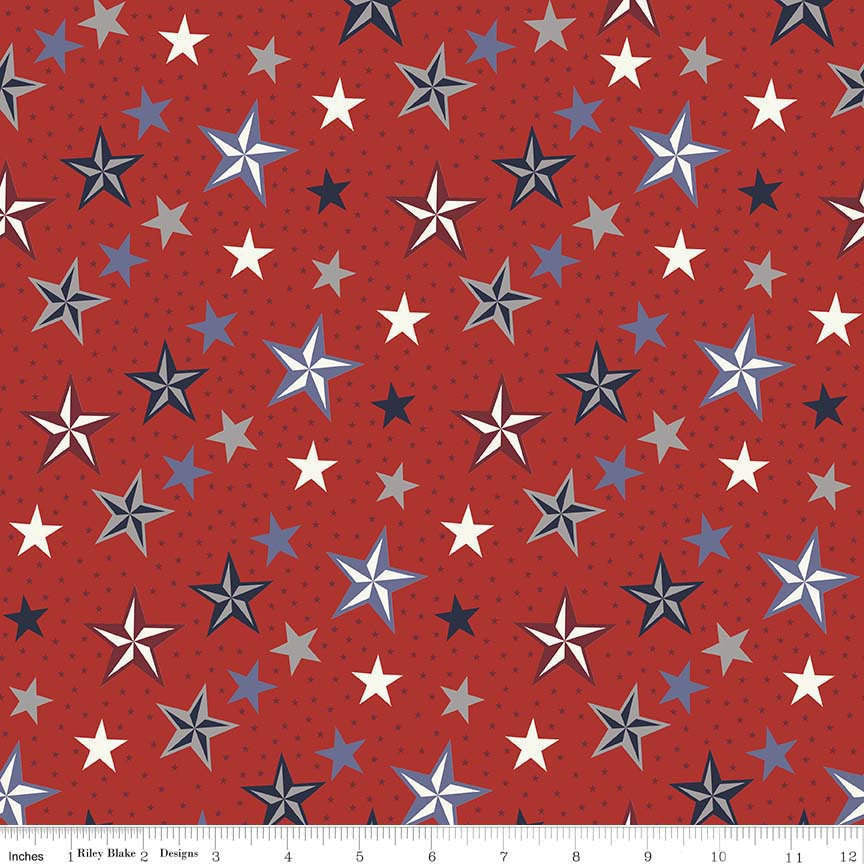 SALE Lost and Found Americana Stars Red - Riley Blake Designs - Patriotic USA - Quilting Cotton Fabric - choose your cut