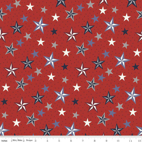Lost and Found Americana Stars Red - Riley Blake Designs - Patriotic USA - Quilting Cotton Fabric