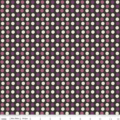 SALE Lost and Found Halloween Dots Purple - Riley Blake Designs - Black Cream - Quilting Cotton Fabric