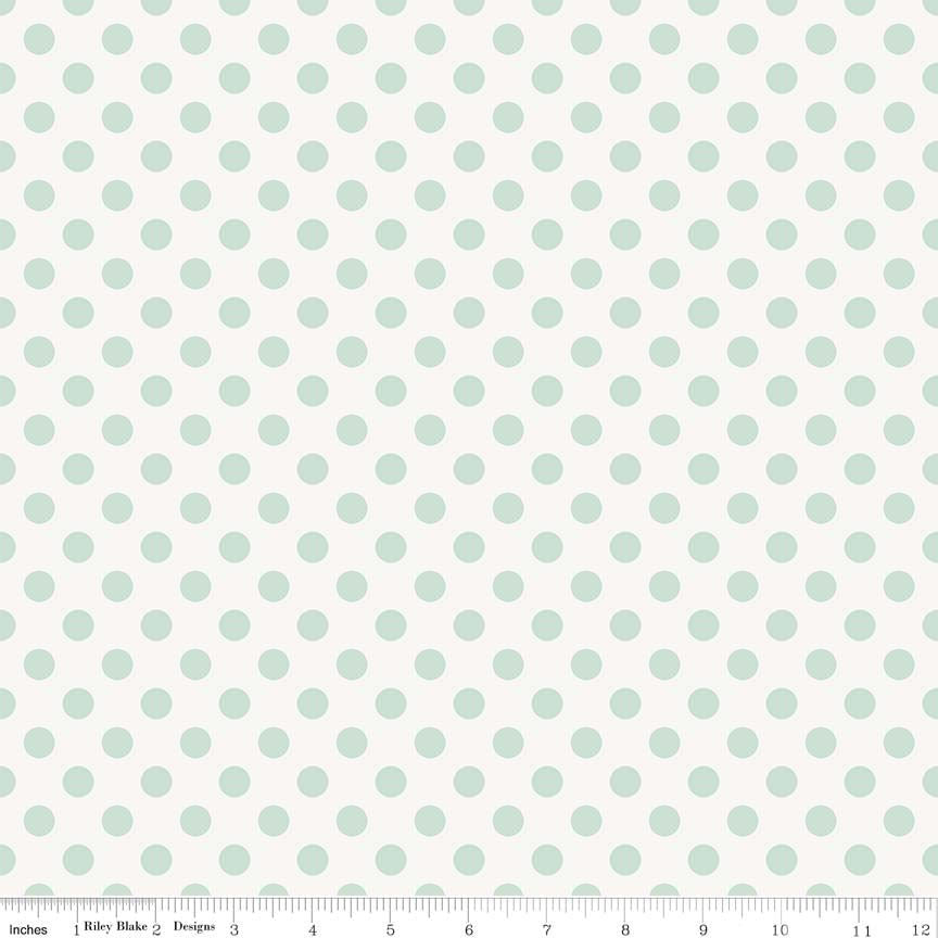 SALE Garden Girl Dot Mint - Riley Blake Designs - Green Polka Dots White - Quilting Cotton Fabric - choose your cut