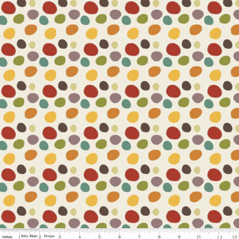 SALE Giraffe Crossing 2 - Dots Multi - Riley Blake Designs - Cream Dot Red Yellow Brown - Quilting Cotton Fabric - choose your cut