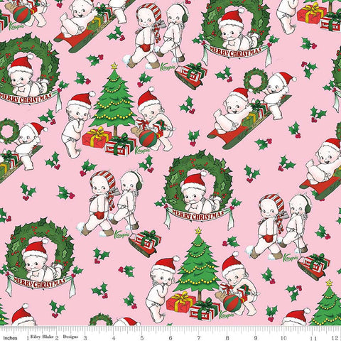 CLEARANCE Kewpie Christmas Main Pink - Riley Blake Designs - Holiday Dolls Trees Wreath - Quilting Cotton Fabric - by the yard