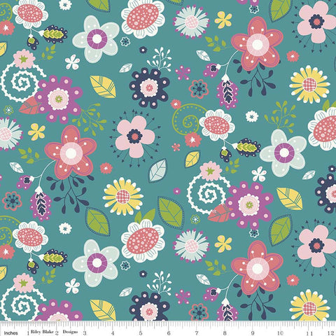 Enchanted Main Teal - Riley Blake Designs - Blue Green Floral Flowers - Quilting Cotton Fabric - choose your cut