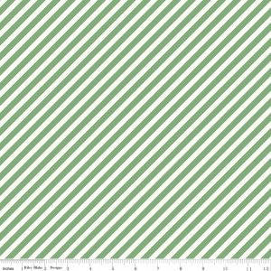 SALE On Trend Stripe Mint - Riley Blake Designs - Green and White - Quilting Cotton Fabric - end of bolt pieces