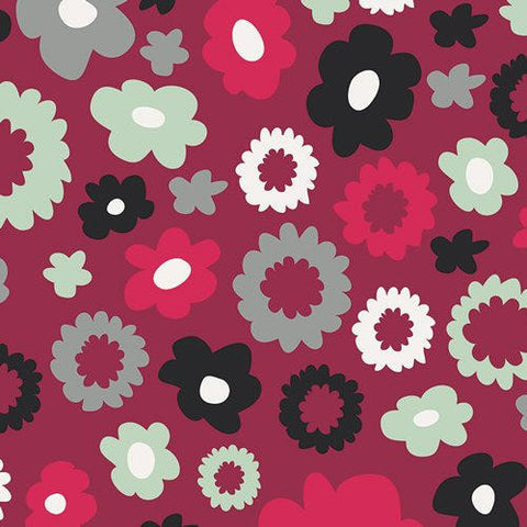 CLEARANCE Nordika Poppy Fields Merlot - Art Gallery - Floral Flowers Maroon Red - Quilting Cotton Fabric - by the yard