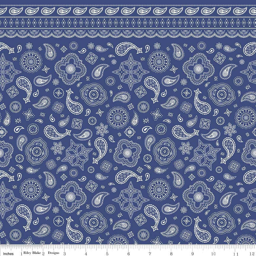 Cowboy Bandana Blue - Paisley - Riley Blake Designs - Quilting Cotton Fabric - choose your cut
