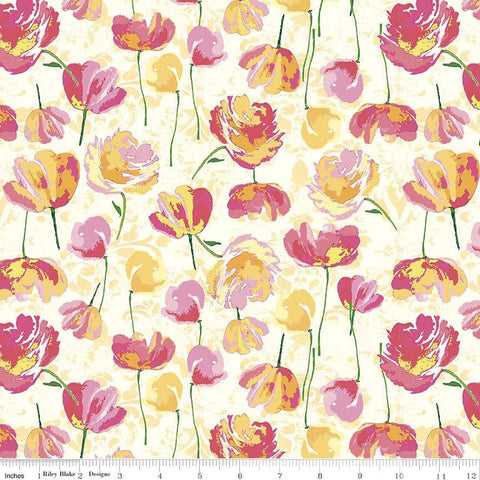 Paige's Passion Toss Yellow - Riley Blake Designs - Floral Flowers - Quilting Cotton Fabric - choose your cut