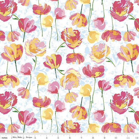 SALE Paige's Passion Toss Blue - Riley Blake Designs - Floral Flowers - Quilting Cotton Fabric - choose your cut