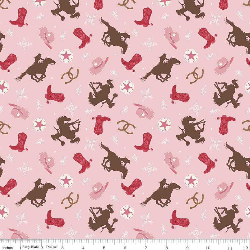 "Cowgirl Toss Multi - Horses Pink Brown - Riley Blake Designs - Quilting Cotton Fabric - 26"" end of bolt"
