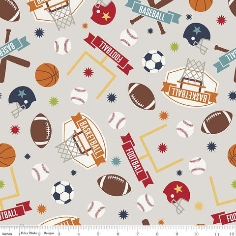 Game Day Sports Main Gray - Riley Blake Designs - Basketball Football Soccer Baseball- Quilting Cotton Fabric - end of bolt pieces
