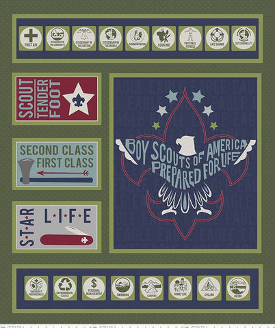 Modern Scouting Panel Green by Riley Blake Designs - Boy Scouts Eagle - Quilting Cotton Fabric