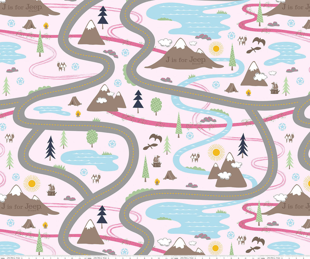 SALE CANVAS Road Pink from J is for Jeep Girl for Riley Blake Designs - Cotton CANVAS - Play Mat Cars Mountains Auto Trucks Wilderness