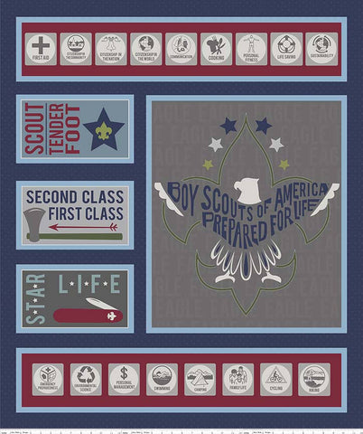 Modern Scouting Panel Navy Blue by Riley Blake Designs - Boy Scouts Eagle - Quilting Cotton Fabric