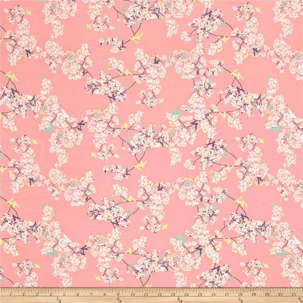 SALE Yinghua Cherrylight - Pandalicious - Art Gallery - Floral pink - Jersey KNIT cotton lycra stretch fabric
