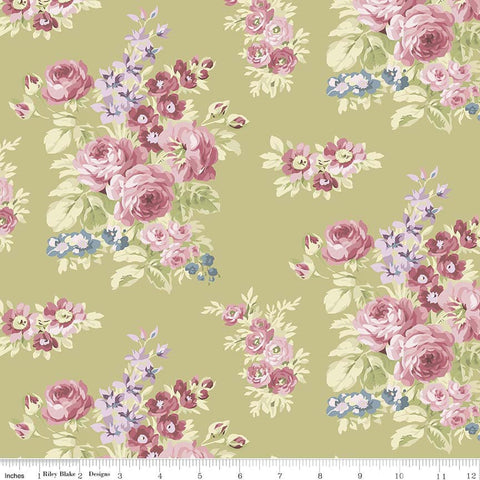 Anne of Green Gables Floral Green - Riley Blake Designs - Penny Rose Fabrics -Flowers -Quilting Cotton Fabric - choose your cut