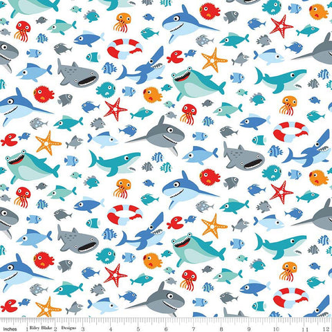 Sharktown Sea Life White - Riley Blake Designs - Sharks Fish Ocean Water - Quilting Cotton Fabric - choose your cut