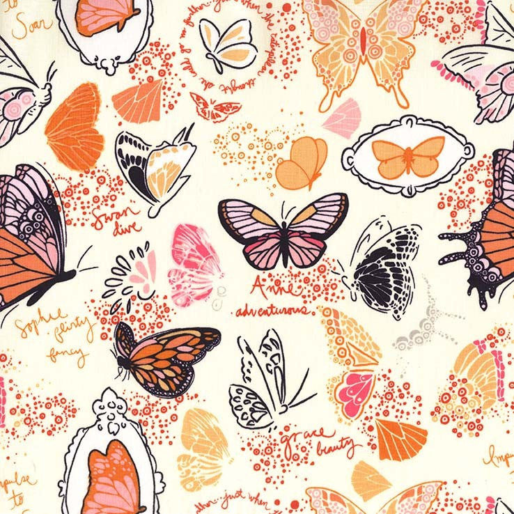 SALE Strawberry Moon Butterfly Sketchbook Orange by Michael Miller - Cream - Quilting Cotton Fabric