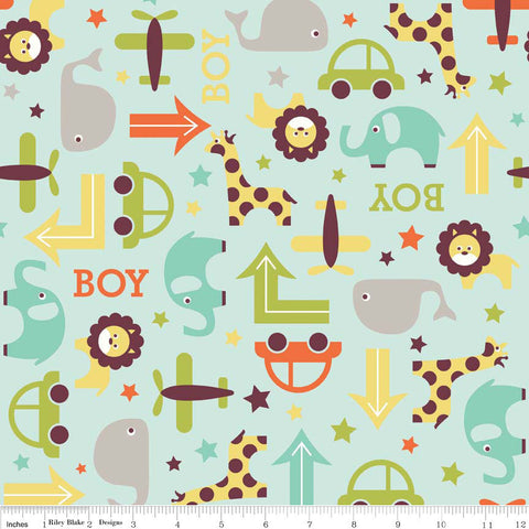 CLEARANCE Oh Boy Main Aqua - Riley Blake Designs - Blue Boy Whale Cars -Jersey KNIT cotton lycra spandex stretch fabric - by the yard