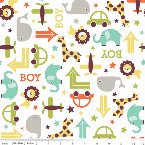 SALE Oh Boy Main White - Riley Blake Designs - Whales Cars - Jersey KNIT cotton lycra spandex stretch fabric - choose your cut
