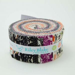Eek Boo Shriek 2.5 Inch Rolie Polie Jelly Roll 40 pieces by Riley Blake Designs - Pre cut Bundle Halloween Skeleton - Quilting Cotton Fabric