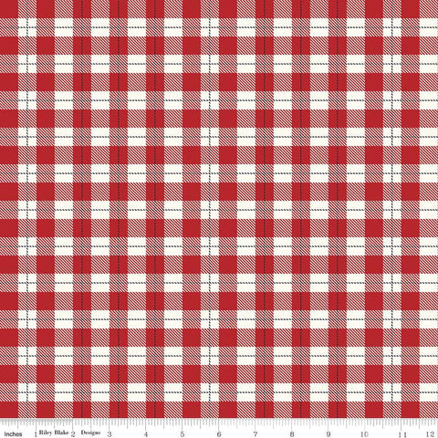 Comfort and Joy Plaid Red by Riley Blake Designs - Christmas Holiday Cream Checkers - Quilting Cotton Fabric - choose your cut