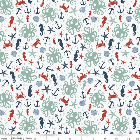 By the Sea Scatter White - Riley Blake Designs - Fish Crab Anchor Ocean Nautical - Quilting Cotton Fabric - choose your cut