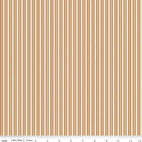 SALE Lost and Found Halloween Stripe Orange - Riley Blake Designs - Cream and Orange - Quilting Cotton Fabric - choose your cut