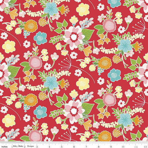 CLEARANCE Wistful Winds Main Red - Riley Blake Designs - Floral Flowers - Quilting Cotton Fabric - by the yard