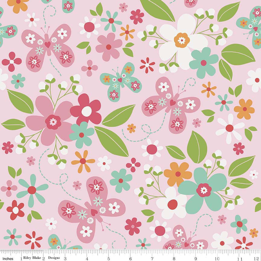 SALE Garden Girl Main Pink - Riley Blake Designs - Butterfly Floral Flowers - Quilting Cotton Fabric - choose your cut